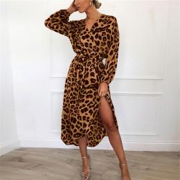 Modna elegancka szyfonowa sukienka damska kopertowy krój wiązana w talii za kolano oryginalny panterkowy wzór