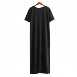 Maxi T koszula sukienka kobiety letnia plaża Casual Sexy Boho elegancki Vintage bandaż Bodycon Wrap czarny podział długie sukien