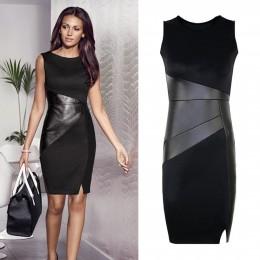 5XL jesień Plus rozmiar sukienka na imprezę ze sztucznej skóry dla kobiet Splice OL czarny sukienka ołówkowa O Neck bez rękawów