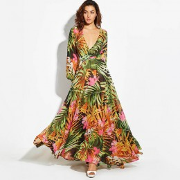 Sukienka z długim rękawem zielona tropikalna plaża w stylu Vintage sukienki Maxi Boho