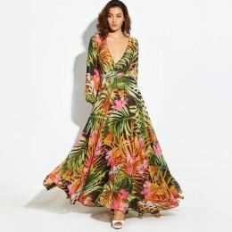 Vintacy sukienka z długim rękawem zielona tropikalna plaża w stylu Vintage sukienki Maxi Boho Casual V Neck pas koronki Up tunik