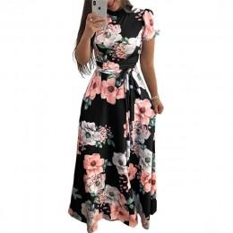 Modna długa sukienka damska w kwiatowe wzory wiązana w pasie z krótkim rękawkiem dopasowana góra z elegancką stójką