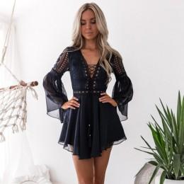 Szyfonowa sukienka z wycięciami Sexy damska Mini koronkowa dekolt w serek z długim rękawem