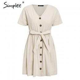 Simplee rocznika przycisk kobiet sukienka koszula V neck krótki rękaw bawełna pościel krótkim letnie sukienki na co dzień koreań