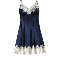 Seksowna bielizna nocna halka piżama koronkowa satynowa koszula nocna dla kobiet bez rękawów