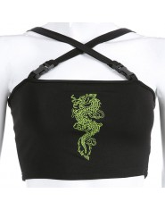 Modny krótki dopasowany top damski z oryginalnym wzorem smoka na piersi krzyżujące się ramiączka na dekolcie i plecach