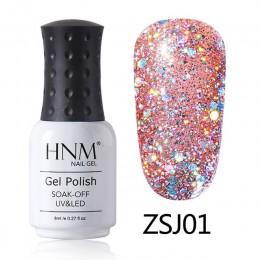 HNM 8 ML diament lampa UV LED paznokci żel Bling Glitter farby Gellak Soak Off Semi Permanent szczęście lakier emalia żel polski