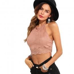 SHEIN muszelki laserowe zamszowe stanik różowy wyciąć Backless kobiety zwykły kamizelka 2018 lato nowych kobiet Sexy Party Crop