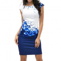 Lossky 2019 lato Plus Size kobiety sukienka na co dzień, bez rękawów, ONeck druku szczupła sukienka biurowa Sexy Mini Bodycon Pa