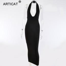 Arctic cat Halter Backless seksowna koszulka z dzianiny sukienka ołówkowa kobiety biały Off ramię długie Bodycon sukienka na imp