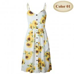 Sexy V Neck Backless kwiatowy lato plaża sukienka kobiety 2019 biały Boho w paski przycisk słonecznika Daisy ananas Party sukien
