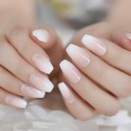 Zestaw sztucznych paznokci w modnym naturalnym kolorze z efektem ombre profesjonalne artykuły kosmetyczne