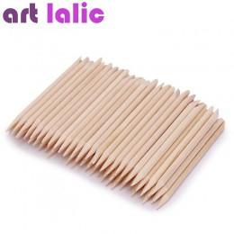 100 sztuk Nail Art Design pomarańczowy drewna kij kije odpychacz do skórek Remover Manicure Pedicure pielęgnacja