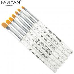 (Złoty kolor) 7 sztuk profesjonalny manicure UV pędzelek do żelu pióro przezroczysty tipsy akrylowe sztuki malowania rysunek szc