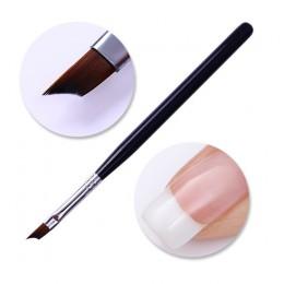 Francuski Manicure do paznokci pędzel srebrny czarna rękojeść pół księżyc kształt akrylowe malarstwo pióro do rysowania Manicure