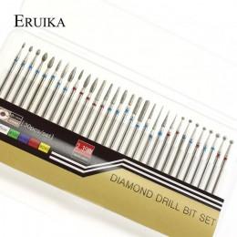 ERUIKA 30 pc diament paznokci zestaw wierteł frez obrotowy rzep do czyste pliki do elektryczna maszyna do manicure akcesoria
