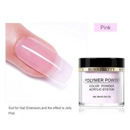 BORN PRETTY 10 ml różowy biały przezroczysty do maczania paznokci sztuki w proszku do przedłużenie paznokci budowniczy Chrome w