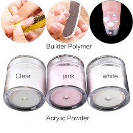 1 sztuk przezroczysty różowy biały proszek akrylowy kryształ rozszerzone paznokcie Manicure porady paznokcie typu french sztuki