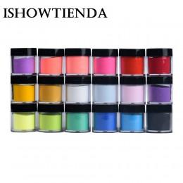 ISHOWTIENDA 18 kolorów proszku akrylowego UV żel w proszku pył projekt dekoracji paznokci art glitter lśniący lakier proszkowy